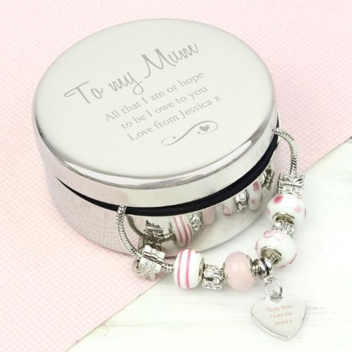 Personalised Swirls & Hearts Round Trinket Box & Candy Pink Heart Charm Bracelet